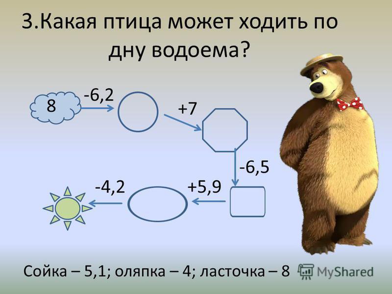 3. Какая птица может ходить по дну водоема? Сойка – 5,1; оляпка – 4; ласточка – 8 8 -6,5 -4,2 -6,2 +7 +5,9
