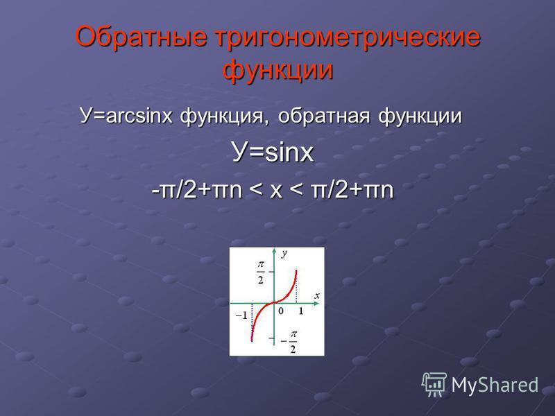 Обратные тригонометрические функции У=arcsinx функция, обратная функции У=sinx -π/2+πn < x < π/2+πn