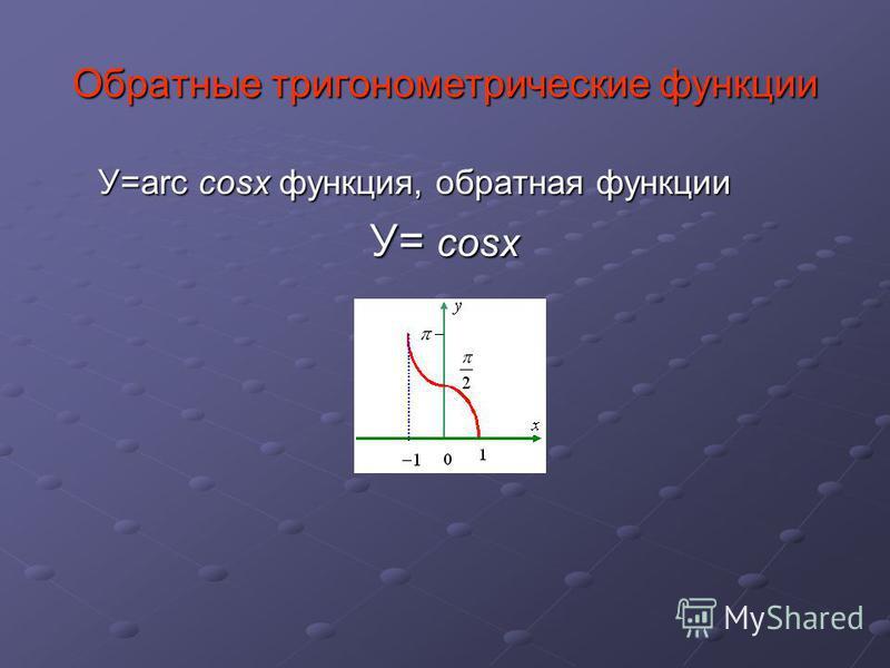 У=arc cosx функция, обратная функции У= cosx