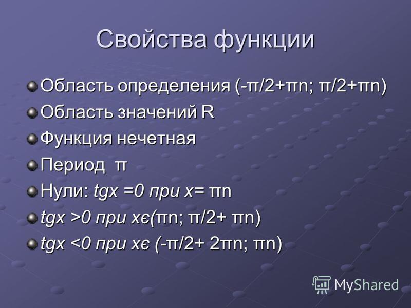 Свойства функции Область определения (-π/2+πn; π/2+πn) Область значений R Функция нечетная Период π Нули: tgx =0 при х= πn tgx >0 при хє(πn; π/2+ πn) tgx <0 при хє (-π/2+ 2πn; πn)