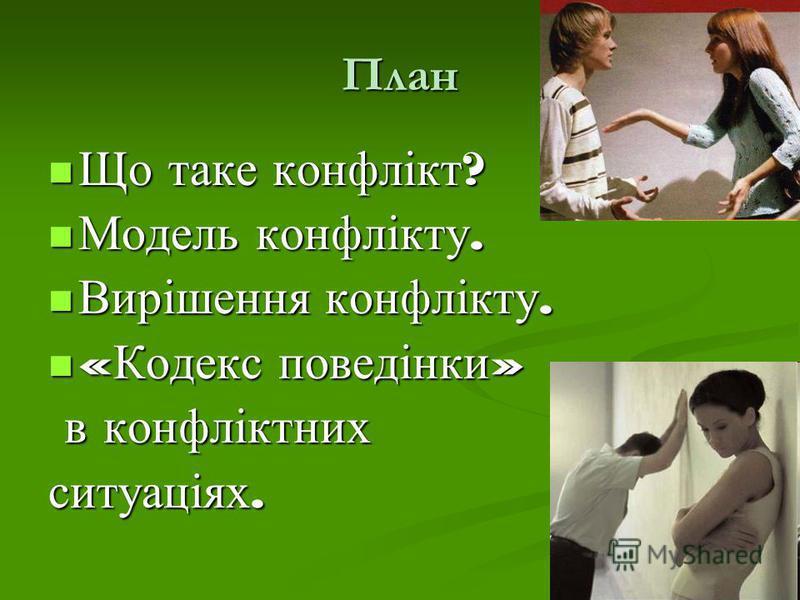 План Що таке конфлікт ? Що таке конфлікт ? Модель конфлікту. Модель конфлікту. Вирішення конфлікту. Вирішення конфлікту. « Кодекс поведінки » « Кодекс поведінки » в конфліктних в конфліктних ситуаціях.