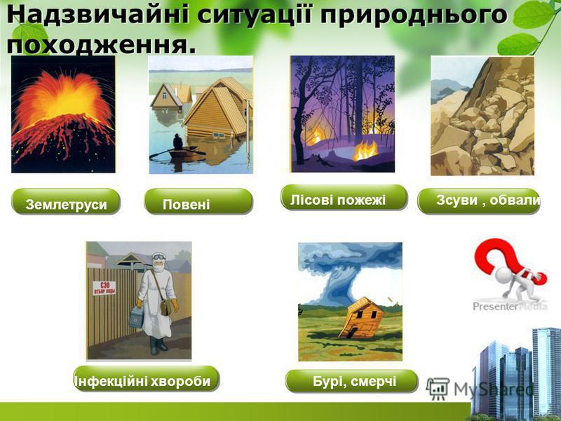 Надзвичайні ситуації природнього походження. Бурі, смерчі Повені Зсуви, обвалиЛісові пожежі Інфекційні хвороби Землетруси
