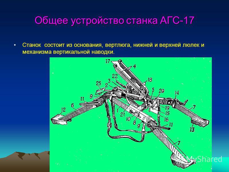 Общее устройство станка АГС-17 Станок состоит из основания, вертлюга, нижней и верхней люлек и механизма вертикальной наводки.