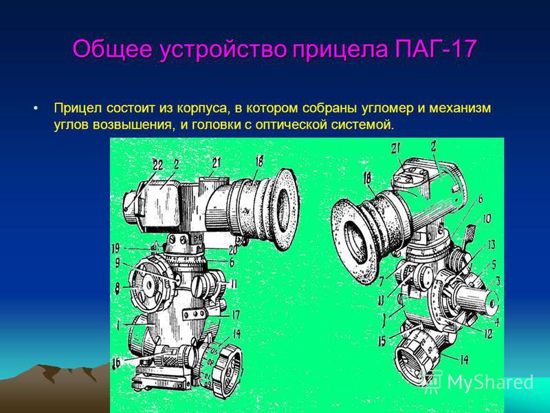 Общее устройство прицела ПАГ-17 Прицел состоит из корпуса, в котором собраны угломер и механизм углов возвышения, и головки с оптической системой.
