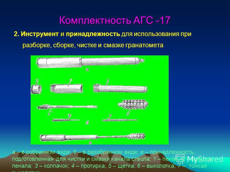 Комплектность АГС -17 2. Инструмент и принадлежность для использования при разборке, сборке, чистке и смазке гранатомета а – в собранном виде; 6 – в разобранном виде; в – принадлежность, подготовленная для чистки и смазки канала ствола; 1 – пенал; 2
