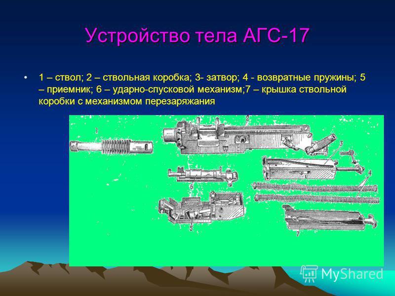 Устройство тела АГС-17 1 – ствол; 2 – ствольная коробка; 3- затвор; 4 - возвратные пружины; 5 – приемник; 6 – ударно-спусковой механизм;7 – крышка ствольной коробки с механизмом перезаряжания