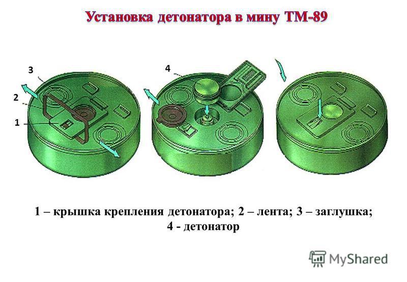 1 2 3 4 1 – крышка крепления детонатора; 2 – лента; 3 – заглушка; 4 - детонатор
