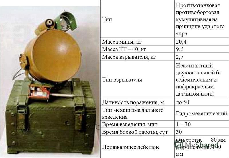 Тип Противотанковая противобортовая кумулятивная на принципе ударного ядра Масса мины, кг 20,4 Масса ТГ – 40, кг 9,6 Масса взрывателя, кг 2,7 Тип взрывателя Неконтактный двухканальный (с сейсмическим и инфракрасным датчиком цели) Дальность поражения,