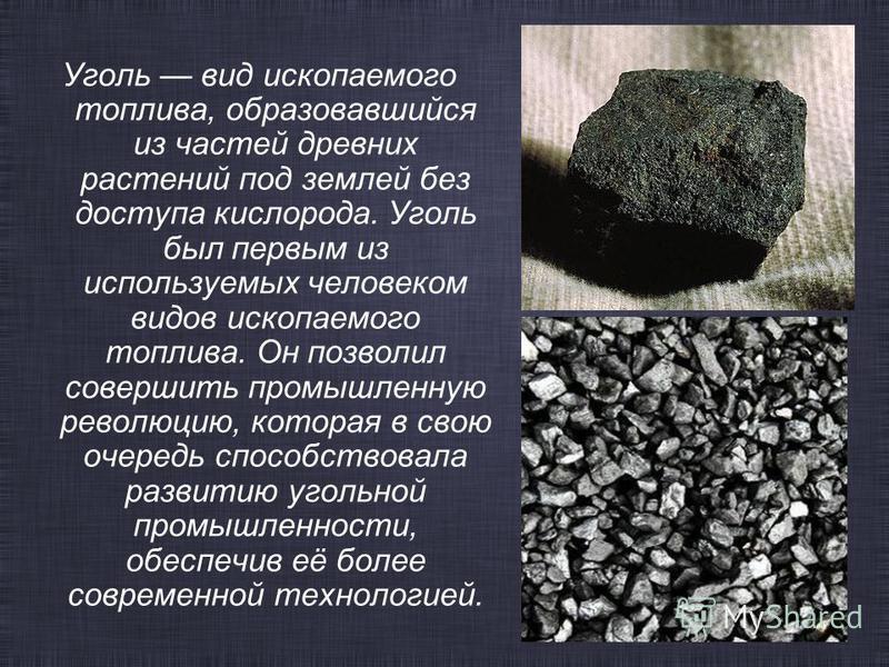 Уголь вид ископаемого топлива, образовавшийся из частей древних растений под землей без доступа кислорода. Уголь был первым из используемых человеком видов ископаемого топлива. Он позволил совершить промышленную революцию, которая в свою очередь спос