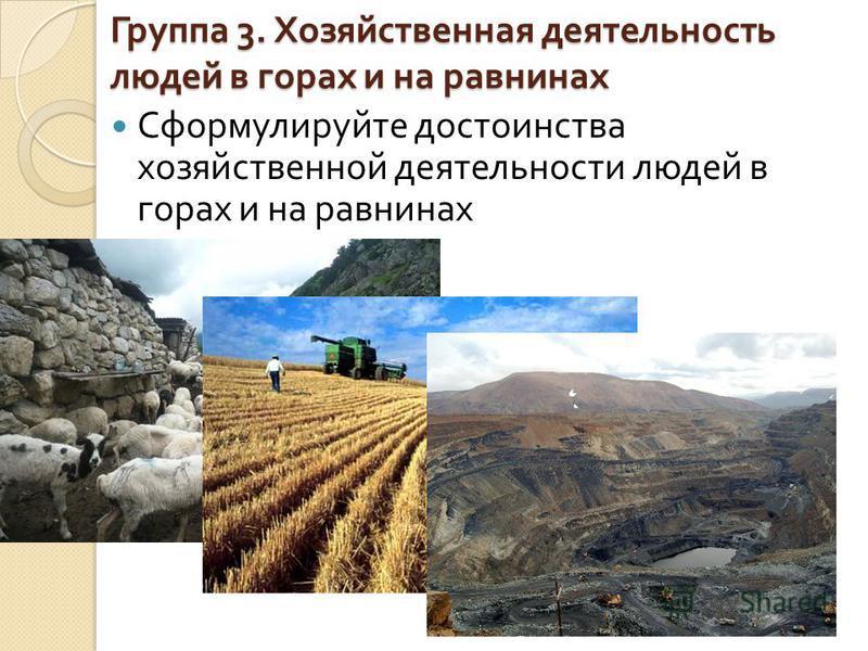 Группа 3. Хозяйственная деятельность людей в горах и на равнинах Сформулируйте достоинства хозяйственной деятельности людей в горах и на равнинах