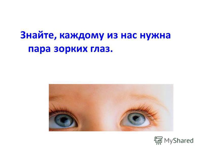 Знайте, каждому из нас нужна пара зорких глаз.