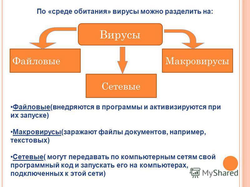 Файловые(внедряются в программы и активизируются при их запуске) Макровирусы(заражают файлы документов, например, текстовых) Сетевые( могут передавать по компьютерным сетям свой программный код и запускать его на компьютерах, подключенных к этой сети