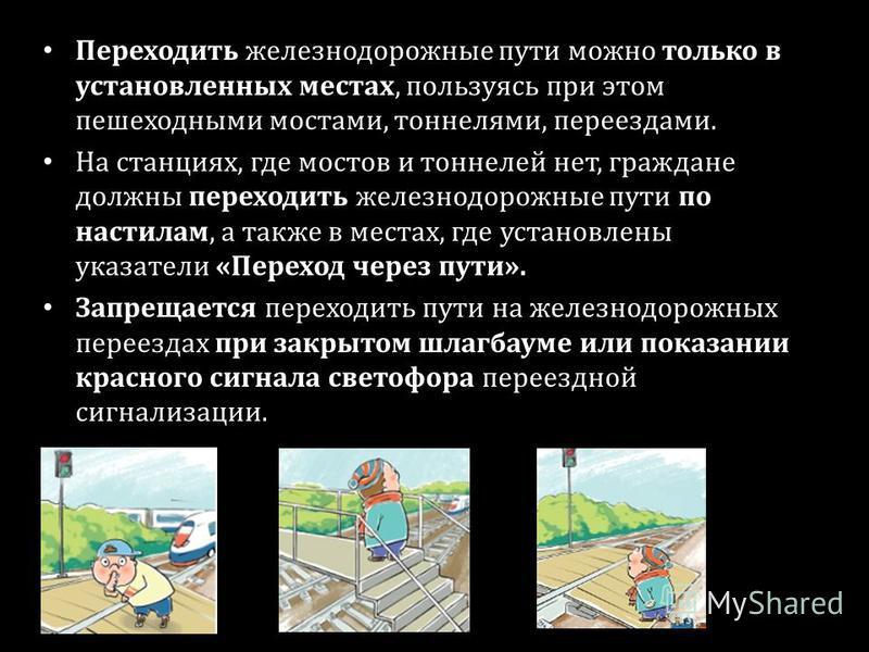 Переходить железнодорожные пути можно только в установленных местах, пользуясь при этом пешеходными мостами, тоннелями, переездами. На станциях, где мостов и тоннелей нет, граждане должны переходить железнодорожные пути по настилам, а также в местах,