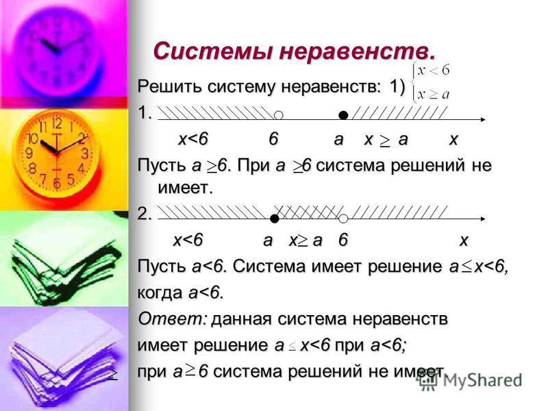 Системы неравенств. Решить систему неравенств: 1) 1. x<6 6 а x a x x<6 6 а x a x Пусть а 6. При а 6 система решений не имеет. 2. x<6 a x a 6 x x<6 a x a 6 x Пусть а<6. Система имеет решение а x<6, когда а<6. Ответ: данная система неравенств имеет реш