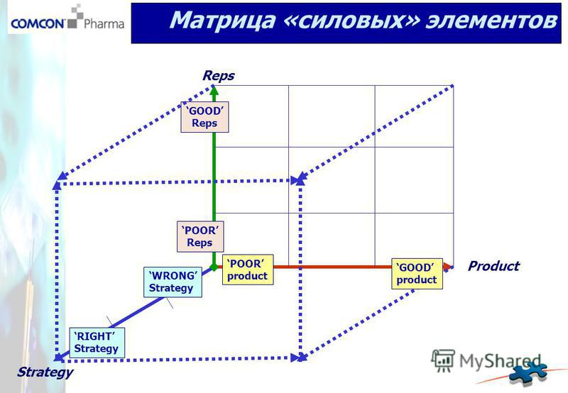 POOR product POOR Reps GOOD Reps WRONG Strategy Матрица «силовых» элементов RIGHT Strategy Product Reps Strategy GOOD product