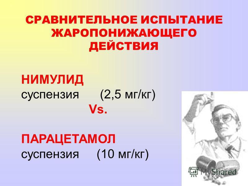 НИМУЛИД суспензия (2,5 мг/кг) Vs. ПАРАЦЕТАМОЛ суспензия (10 мг/кг) СРАВНИТЕЛЬНОЕ ИСПЫТАНИЕ ЖАРОПОНИЖАЮЩЕГО ДЕЙСТВИЯ