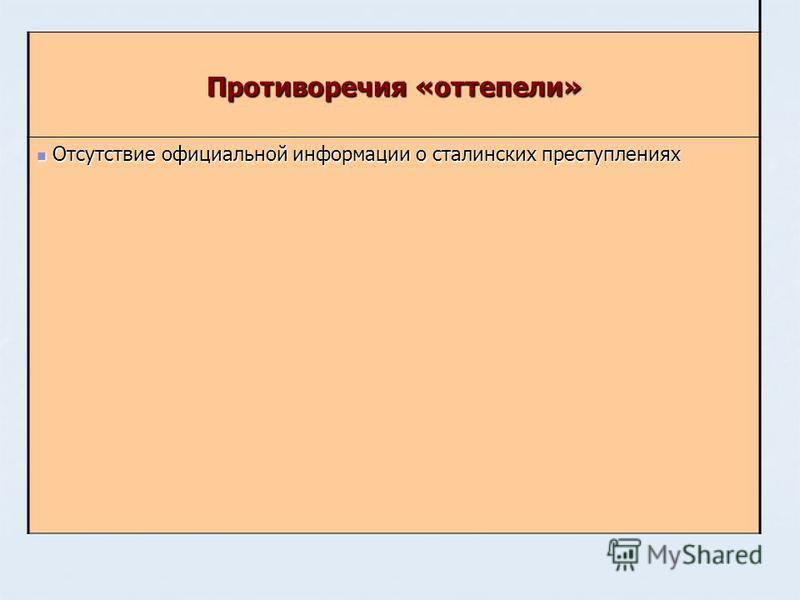 Противоречия «оттепели» Отсутствие официальной информации о сталинских преступлениях Отсутствие официальной информации о сталинских преступлениях