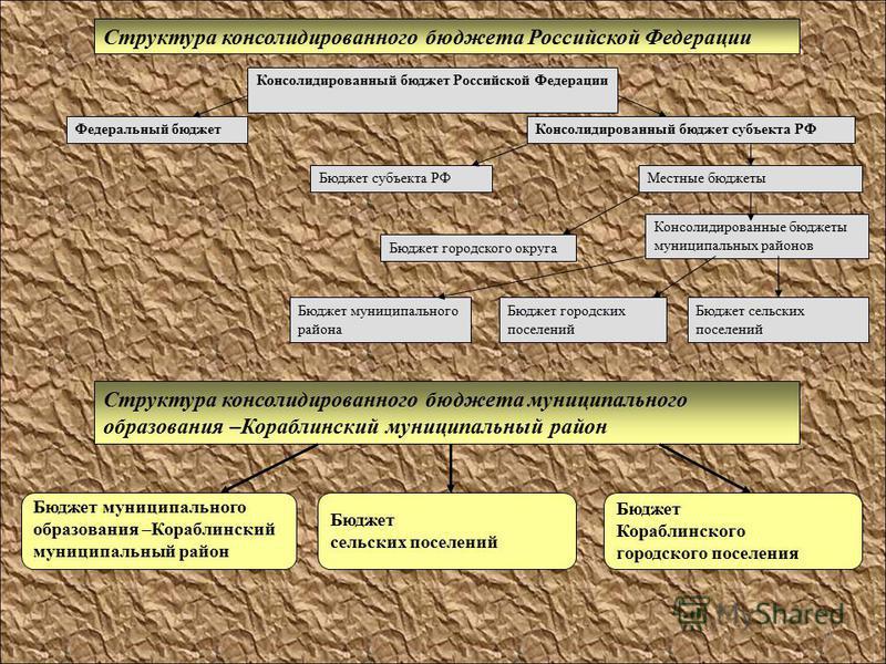 4 Структура консолидированного бюджета муниципального образования –Кораблинский муниципальный район Структура консолидированного бюджета Российской Федерации Консолидированный бюджет Российской Федерации Федеральный бюджет Консолидированный бюджет су