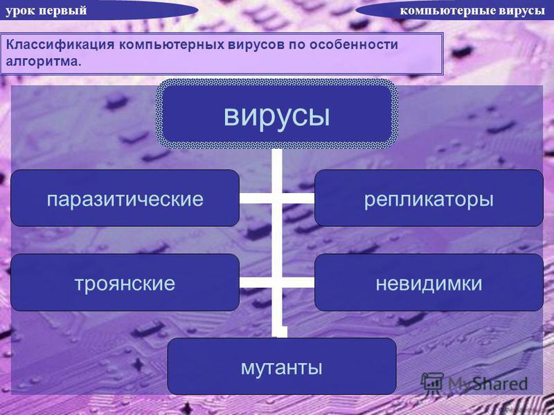 урок первый компьютерные вирусы Классификация компьютерных вирусов по особенности алгоритма. вирусы паразитические репликаторы троянские невидимки мутанты