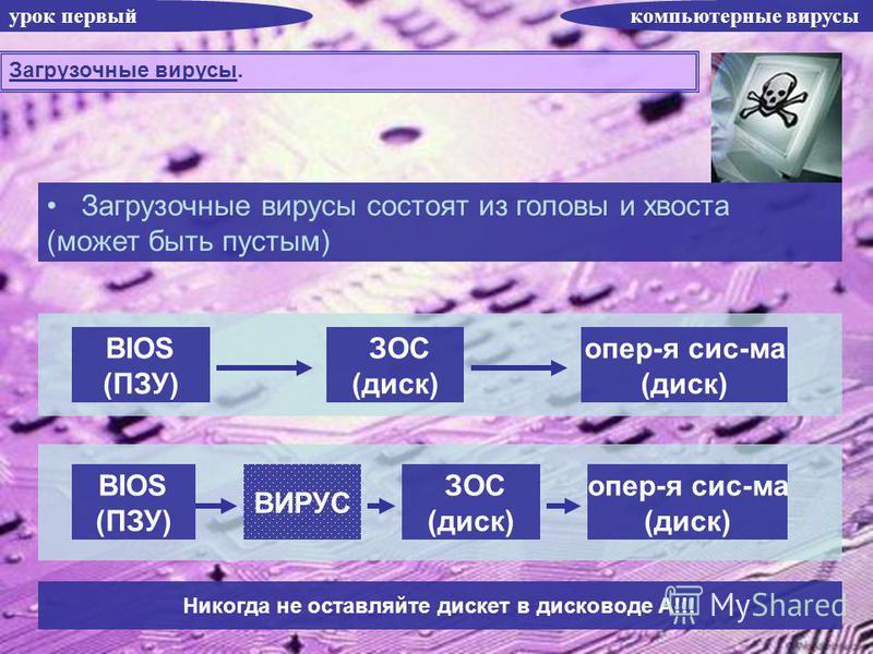 урок первый компьютерные вирусы Загрузочные вирусы. Загрузочные вирусы состоят из головы и хвоста (может быть пустым) BIOS (ПЗУ) ЗОС (диск) опер-я сис-ма (диск) BIOS (ПЗУ) ЗОС (диск) опер-я сис-ма (диск) ВИРУС Никогда не оставляйте дискет в дисководе