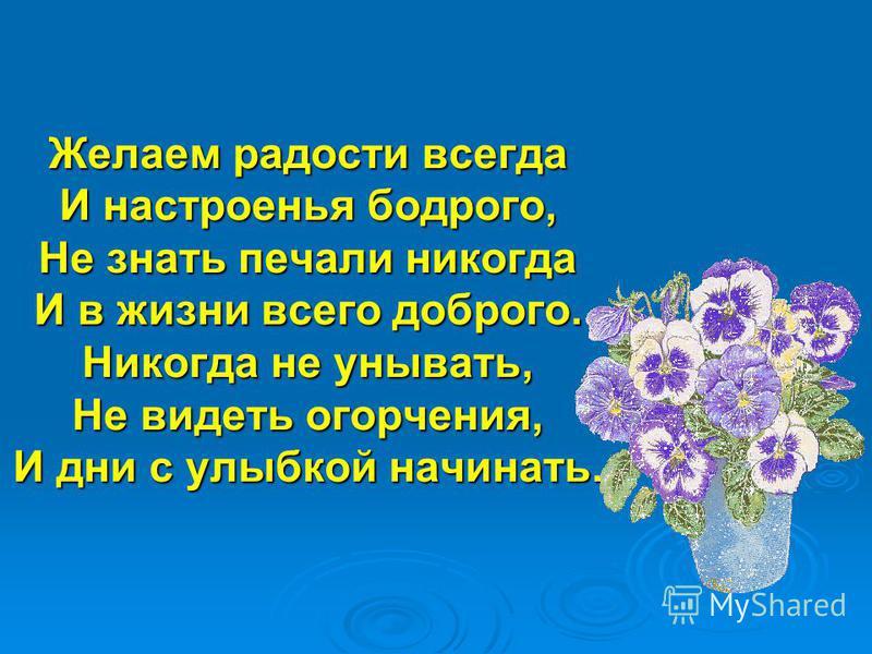 Желаем радости всегда И настроенья бодрого, Не знать печали никогда И в жизни всего доброго. Никогда не унывать, Не видеть огорчения, И дни с улыбкой начинать.