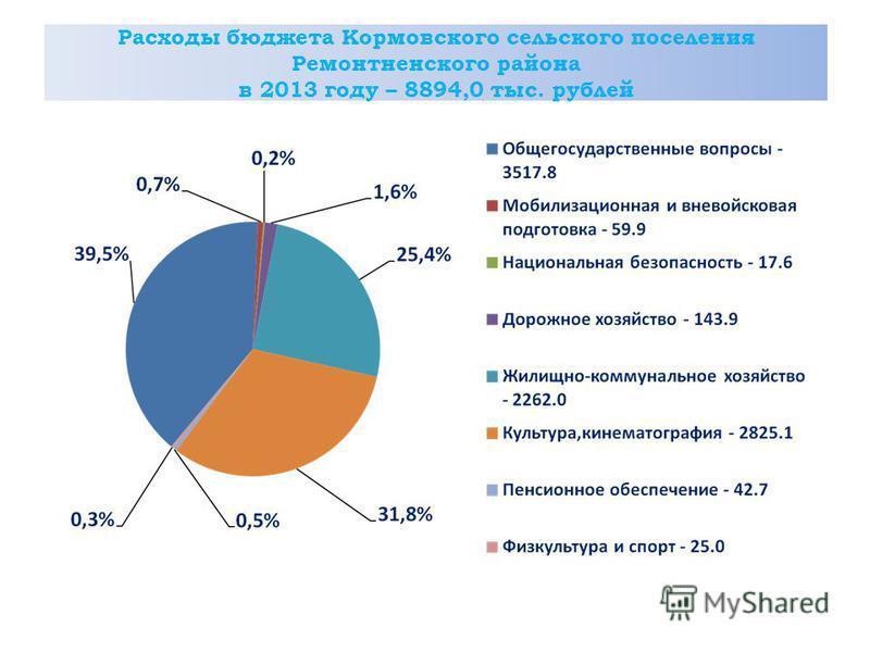 Расходы бюджета Кормовского сельского поселения Ремонтненского района в 2013 году – 8894,0 тыс. рублей