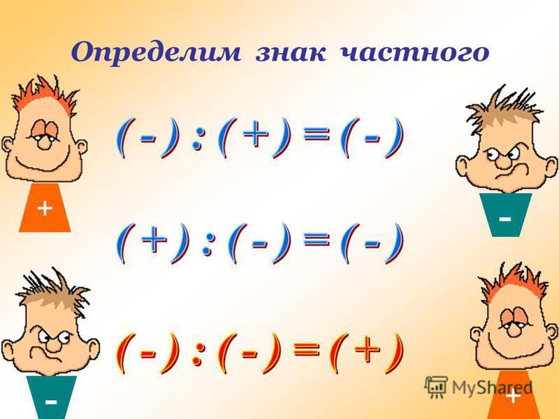Алгоритм деления целых чисел 1)Определить знак частного 2)Разделить модуль делимого на модуль делителя.