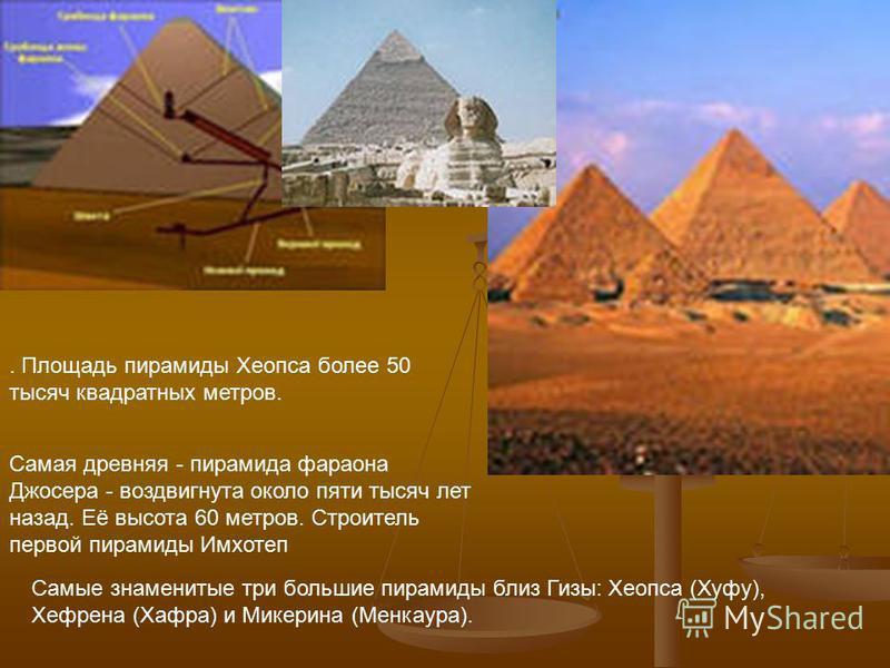 Самая древняя - пирамида фараона Джосера - воздвигнута около пяти тысяч лет назад. Её высота 60 метров. Строитель первой пирамиды Имхотеп Самые знаменитые три большие пирамиды близ Гизы: Хеопса (Хуфу), Хефрена (Хафра) и Микерина (Менкаура).. Площадь