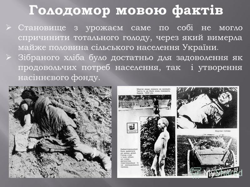 Становище з урожаєм саме по собі не могло спричинити тотального голоду, через який вимерла майже половина сільського населення України. Зібраного хліба було достатньо для задоволення як продовольчих потреб населення, так і утворення насіннєвого фонду
