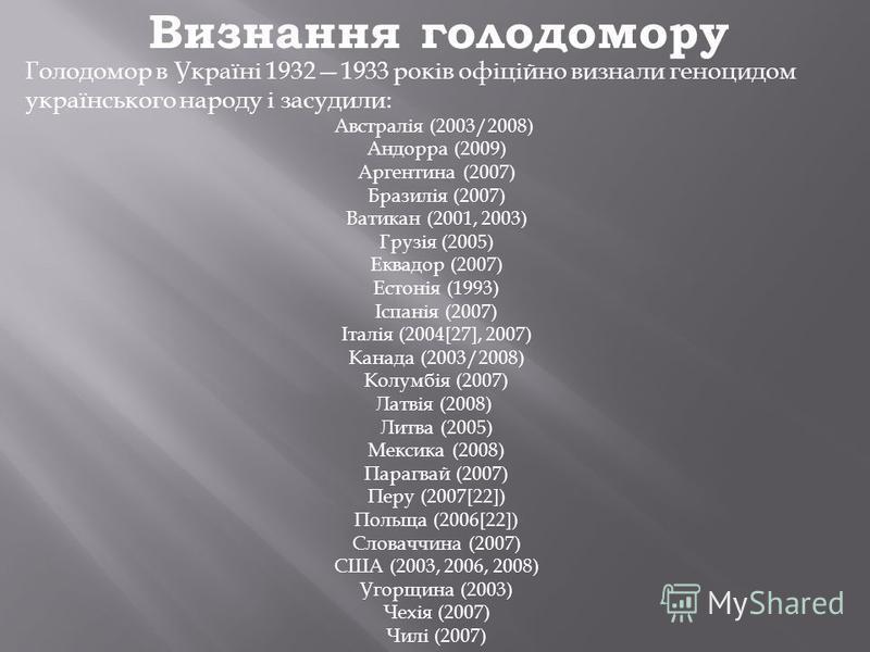 Визнання голодомору Голодомор в Україні 19321933 років офіційно визнали геноцидом українського народу і засудили: Австралія (2003/2008) Андорра (2009) Аргентина (2007) Бразилія (2007) Ватикан (2001, 2003) Грузія (2005) Еквадор (2007) Естонія (1993) І