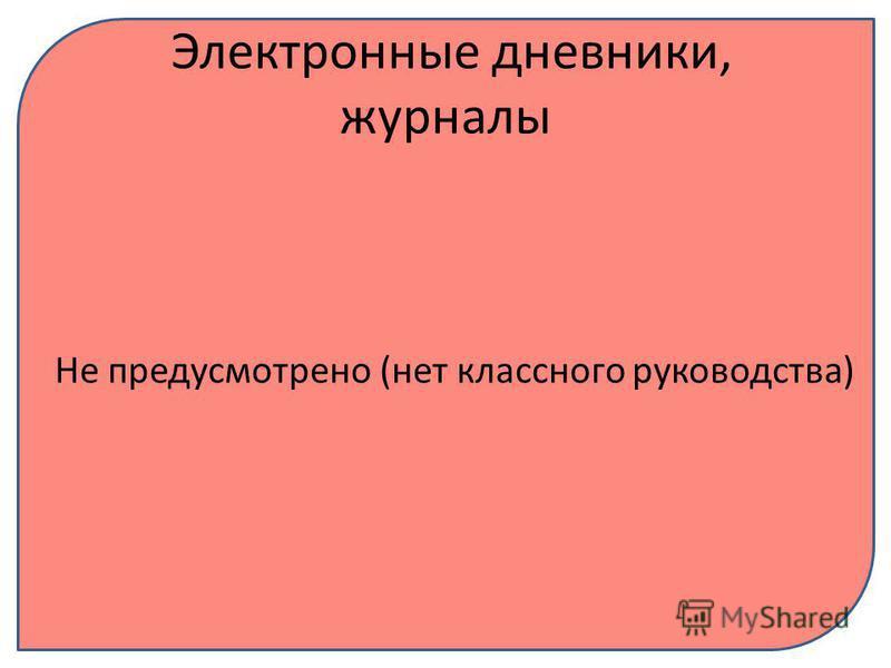 Электронные дневники, журналы Не предусмотрено (нет классного руководства)