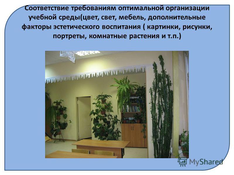 Соответствие требованиям оптимальной организации учебной среды(цвет, свет, мебель, дополнительные факторы эстетического воспитания ( картинки, рисунки, портреты, комнатные растения и т.п.)