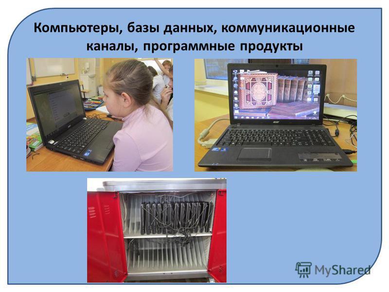 Компьютеры, базы данных, коммуникационные каналы, программные продукты