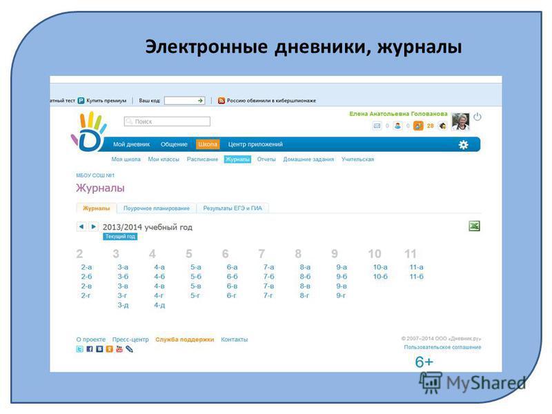 Электронные дневники, журналы