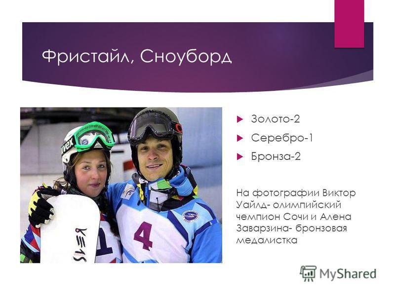 Фристайл, Сноуборд Золото-2 Серебро-1 Бронза-2 На фотографии Виктор Уайлд- олимпийский чемпион Сочи и Алена Заварзина- бронзовая медалистка