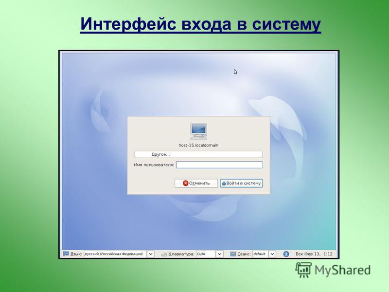 Интерфейс входа в систему
