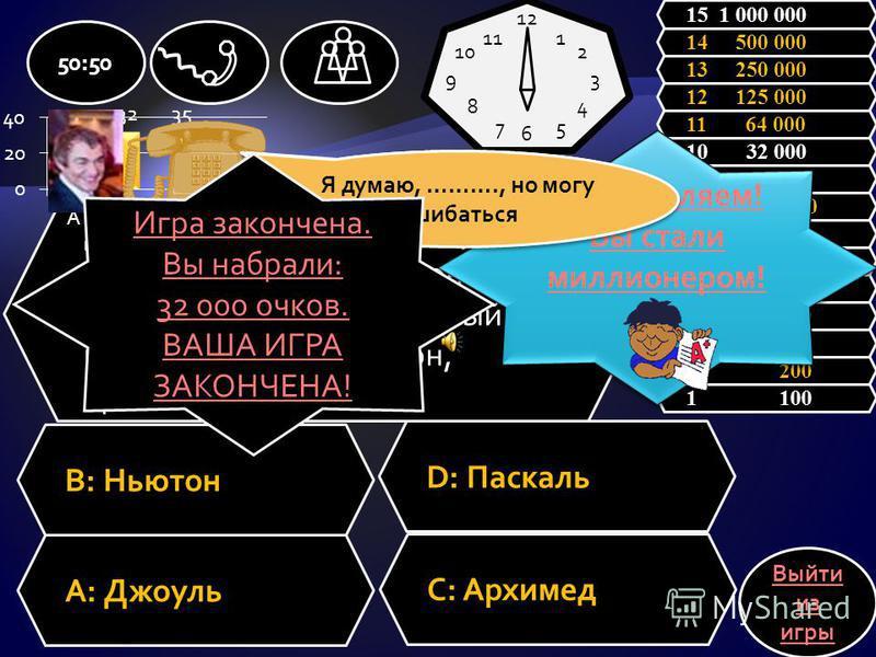 Эта единица измерения равна произведению Ньютона на метр A: ПаскальC: Архимед B: ДжоульD: Ньютон 50:50 1 100 2 200 3 300 4 500 5 1 000 6 2 000 7 4 000 8 8 000 9 16 000 10 32 000 11 64 000 12 125 000 13 250 000 14 500 000 15 1 000 000 Выйти из игры 12