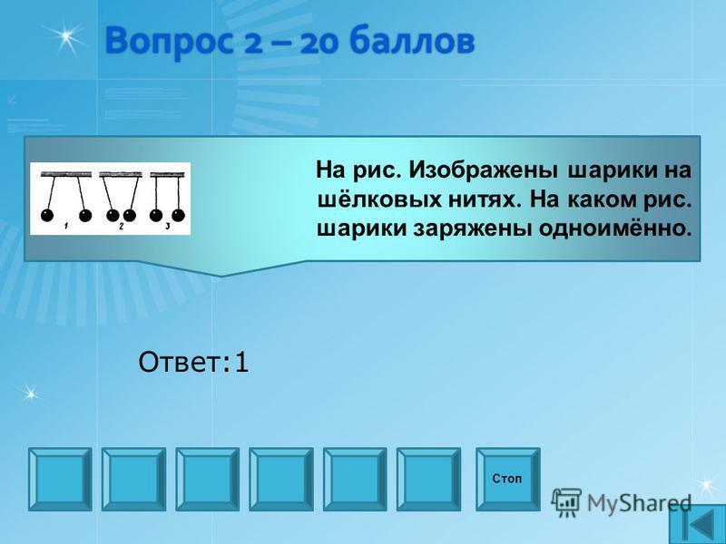 Вопрос 2 – 20 баллов Стоп Ответ:1 На рис. Изображены шарики на шёлковых нитях. На каком рис. шарики заряжены одноимённо.