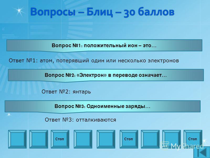 Вопросы – Блиц – 30 баллов Вопрос 1: положительный ион – это … Стоп Вопрос 2: « Электрон » в переводе означает … Вопрос 3: Одноименные заряды … Ответ 1: атом, потерявший один или несколько электронов Ответ 2: янтарь Ответ 3: отталкиваются