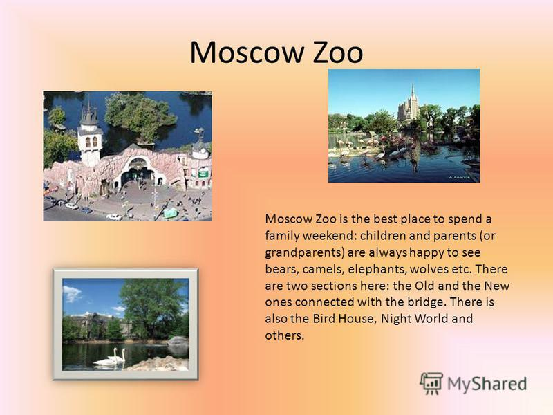 Moscow Zoo Moscow Zoo is the best place to spend a family weekend: children and parents (or grandparents) are always happy to see bears, camels, elephants, wolves etc. There are two sections here: the Old and the New ones connected with the bridge. T