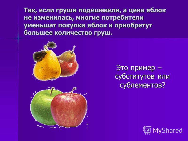 Так, если груши подешевели, а цена яблок не изменилась, многие потребители уменьшат покупки яблок и приобретут большее количество груш. Это пример – субститутов или сублементов?