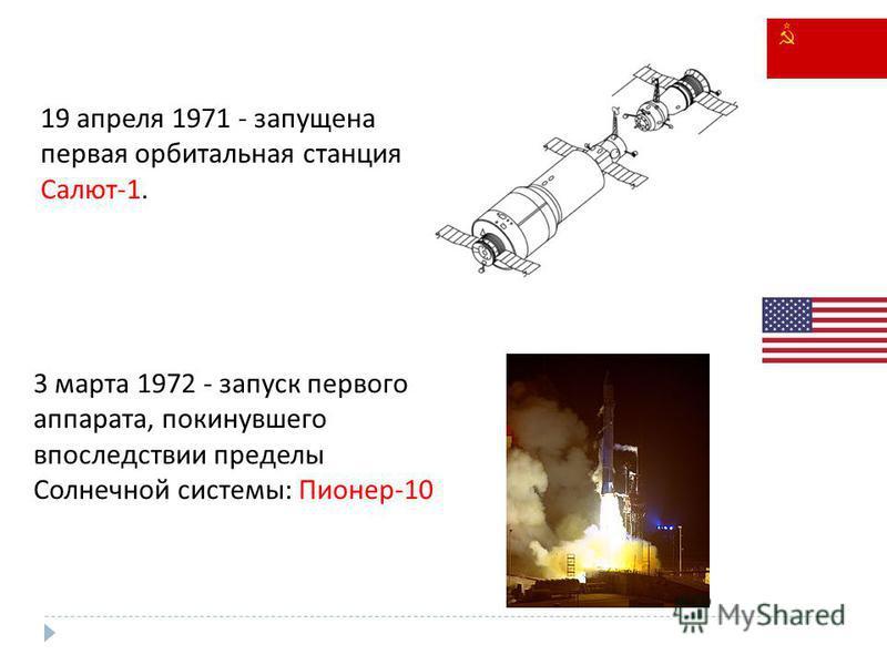 19 апреля 1971 - запущена первая орбитальная станция Салют-1. 3 марта 1972 - запуск первого аппарата, покинувшего впоследствии пределы Солнечной системы: Пионер-10
