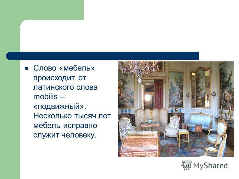Слово «мебель» происходит от латинского слова mobilis – «подвижный». Несколько тысяч лет мебель исправно служит человеку.