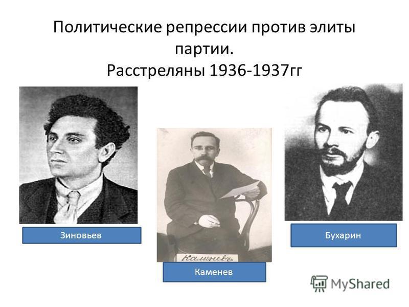Политические репрессии против элиты партии. Расстреляны 1936-1937 гг Зиновьев Каменев Бухарин