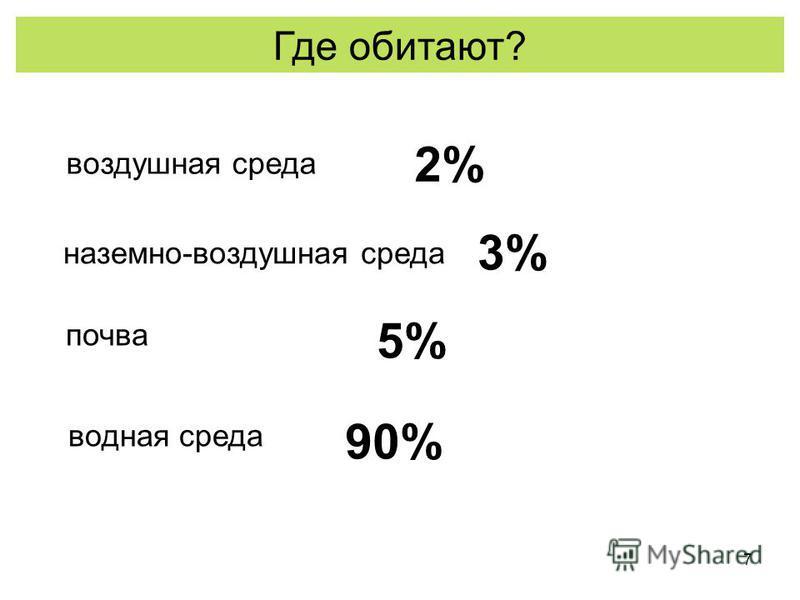 7 Где обитают? воздушная среда наземно-воздушная среда почва водная среда 90% 5% 3% 2%