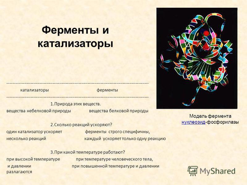 Ферменты и катализаторы ------------------------------------------------------------------------------------------------- катализаторы ферменты ------------------------------------------------------------------------------------------------- 1. Приро