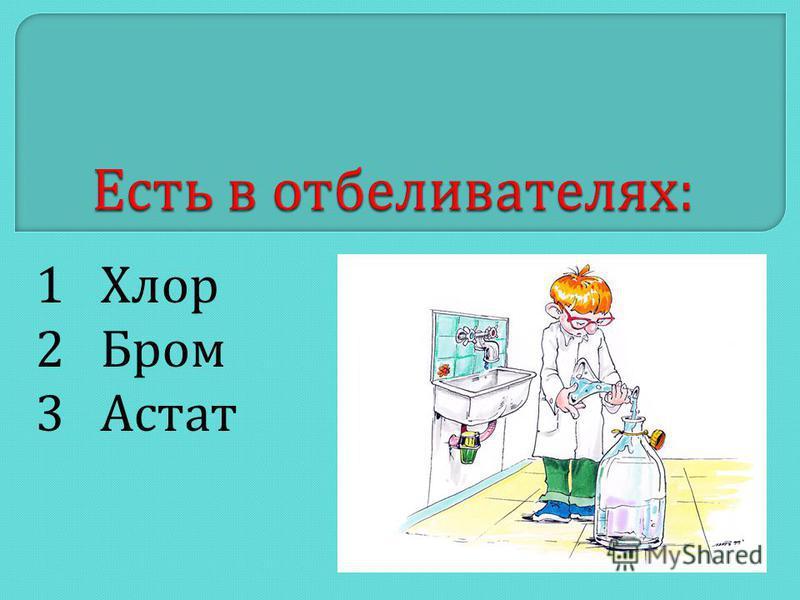 1 Хлор 2 Бром 3 Астат