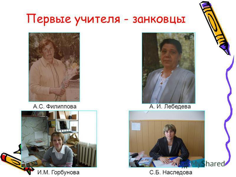 Первые учителя - занковцы И.М. ГорбуноваС.Б. Наследова А.С. ФилипповаА. И. Лебедева