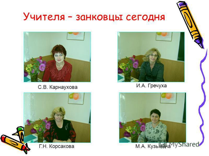 Учителя – занковцы сегодня С.В. Карнаухова И.А. Гречуха Г.Н. КорсаковаМ.А. Кузьмина