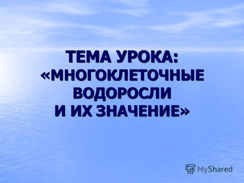 ТЕМА УРОКА: «МНОГОКЛЕТОЧНЫЕ ВОДОРОСЛИ И ИХ ЗНАЧЕНИЕ»